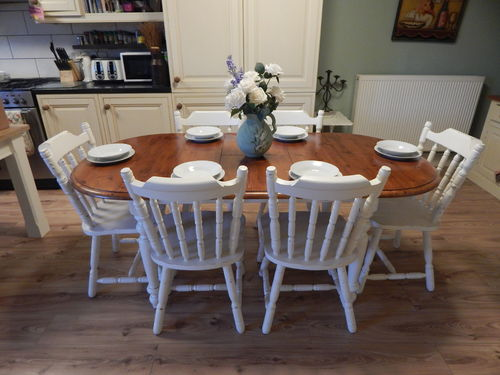 GORGEOUS SHABBY CHIC SOLID PINE EXTENDING TABLE & 6 CHAIRS # # SOLD # #