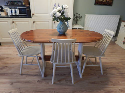 LOVELY SOLID PINE TABLE & 4 BEECH CHAIRS # # SOLD # #