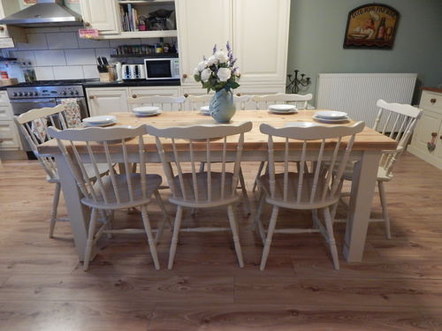 STUNNING LARGE SOLID PINE FARMHOUSE TABLE & 8 SOLID BEECH CHAIRS # # SOLD # #