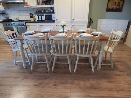 STUNNING LARGE SOLID PINE FARMHOUSE TABLE & 8 SOLID PINE CHAIRS # # SOLD # #