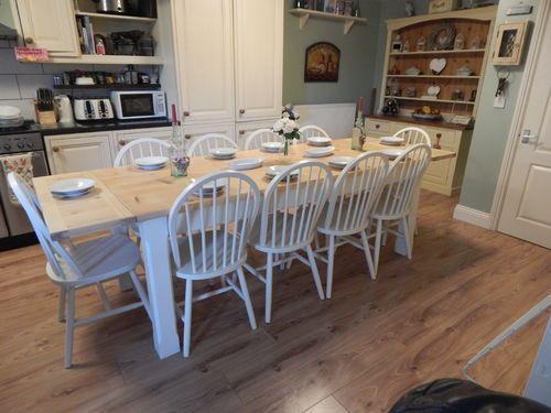 STUNNING LARGE SOLID PINE COUNTRY FARMHOUSE TABLE & 10 SOLID BEECH CHAIRS # # # SOLD # # #