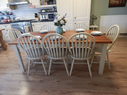 GORGEOUS LARGE SOLID PINE COUNTRY FARMHOUSE TABLE & 8 SOLID BEECH CHAIRS # # # SOLD # # #