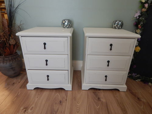 "GORGEOUS PAIR OF ""MEREDEW"" SHABBY CHIC BEDSIDE CABINETS # # # SOLD # # #"