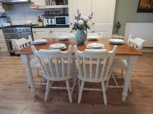 VINTAGE SHABBY CHIC SOLID BEECH FARMHOUSE TABLE & 6 SOLID PINE CHAIRS  # # # SOLD  # # #