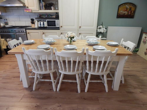 STUNNING LARGE SOLID PINE FARMHOUSE TABLE & 8 SOLID PINE # # # SOLD # # #