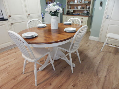 GORGEOUS SHABBY CHIC SOLID BEECH EXTENDING TABLE & 4 OAK CHAIRS # # # SOLD # # #