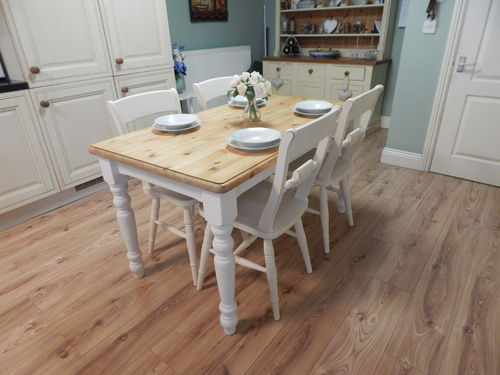 VINTAGE SHABBY CHIC SOLID PINE TABLE & 4 BEECH CHAIRS # # # SOLD # # #