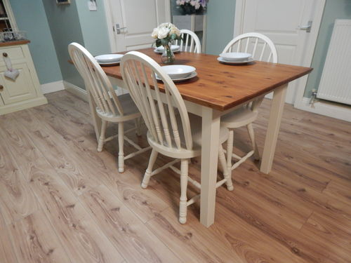 SOLID PINE FARMHOUSE DINING TABLE & 4 BEECH CHAIRS # # # SOLD # # #
