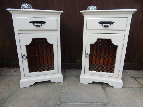PAIR OF SOLID PINE SHABBY CHIC BEDSIDE CABINETS , BEDSIDE TABLES # # # SOLD # # #