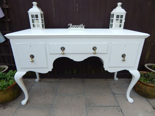 SHABBY CHIC QUEEN ANNE STYLE SIDEBOARD / BUFFET / DRESSER IN MAHOGANY & PINE # # # SOLD # # #