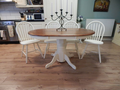 SHABBY CHIC SOLID BEECH FARMHOUSE DINING TABLE & 4 BEECH CHAIRS  # # # SOLD # # #