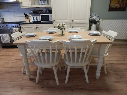 GORGEOUS LARGE SOLID PINE COUNTRY FARMHOUSE TABLE & 6 SOLID PINE CHAIRS  # # # SOLD # # #