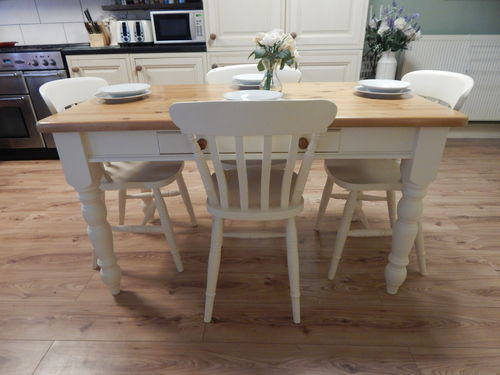 UPCYCLED VINTAGE SOLID PINE FARMHOUSE DINING TABLE & 4 CHAIRS # # # SOLD # # #
