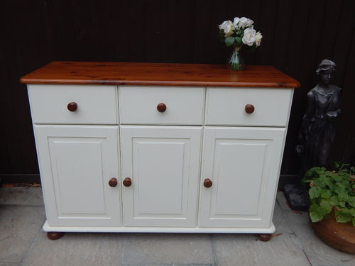 GORGEOUS SHABBY CHIC PINE FARMHOUSE SIDEBOARD / CUPBOARD  # # # SOLD # # #