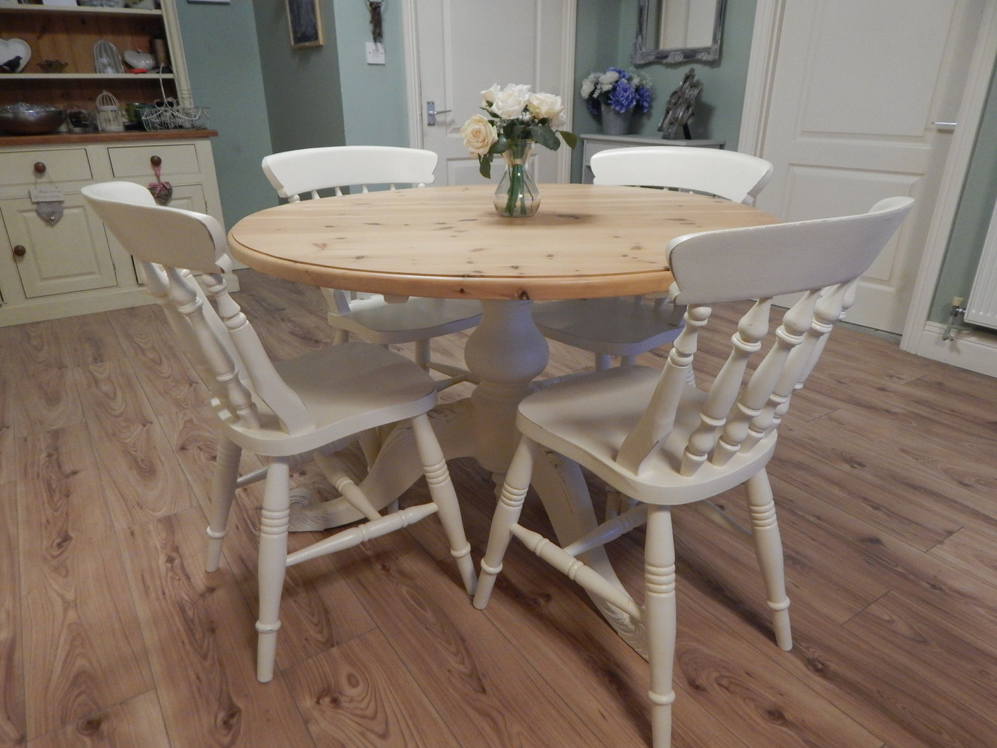 Vintage Round Shabby Chic Solid Pine Farmhouse Dining Table 4 Chairs Sold Moonstripe