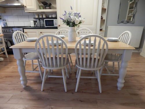 LARGE VINTAGE BEECH FARMHOUSE DINING TABLE & 6 WINDSOR CHAIRS # # # SOLD # # #