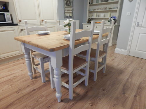 GORGEOUS VINTAGE COUNTRY FARMHOUSE PINE DINING TABLE & 4 CHAIRS # # # SOLD # # #