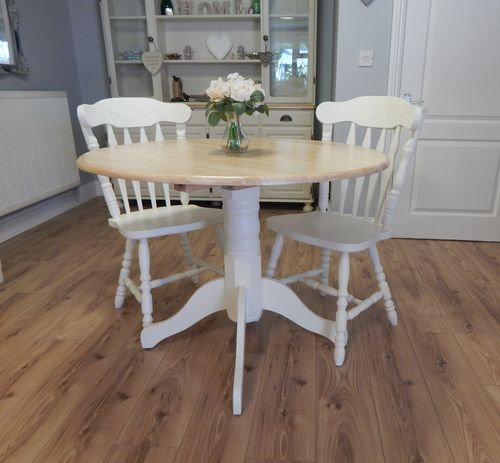 VINTAGE BEECH , DROPLEAF BISTRO DINING TABLE & 2 CHAIRS # # # SOLD # # #