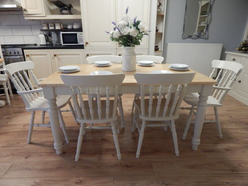 GORGEOUS LARGE VINTAGE SOLID BEECH FARMHOUSE DINING TABLE & 6 CHAIRS# # # SOLD # # #