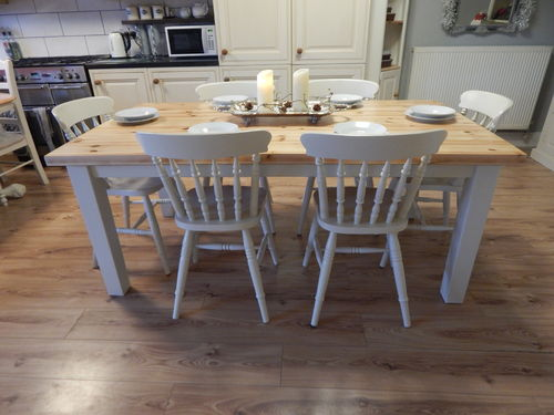 STUNNING LARGE VINTAGE PINE FARMHOUSE DINING TABLE & 6 CHAIRS # # # SOLD # # #