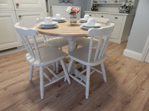 FARMHOUSE BEECH , DROPLEAF BISTRO DINING / KITCHEN TABLE & 4 CHAIRS , VINTAGE # # SOLD # #