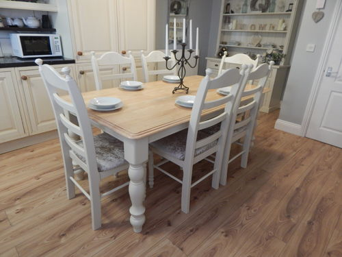 LARGE VINTAGE BEECH FARMHOUSE DINING TABLE & 6 CHAIRS