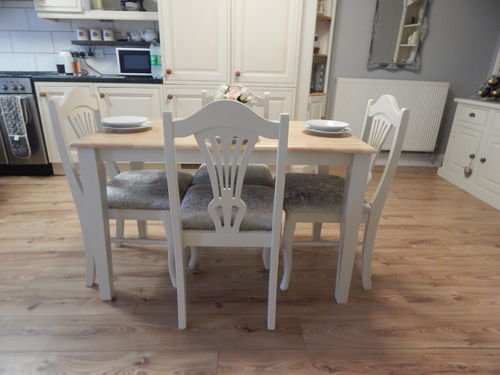 COUNTRY FARMHOUSE BEECH KITCHEN / DINING TABLE & 4 CHAIRS , VINTAGE  # # # SOLD # # #