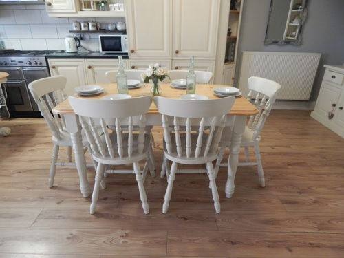 GORGEOUS VINTAGE PINE FARMHOUSE KITCHEN / DINING TABLE & 6 CHAIRS # # # SOLD # # #
