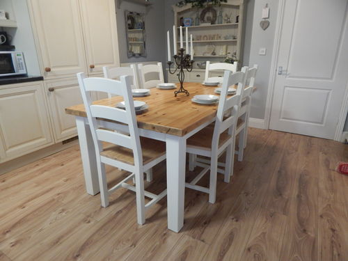 Stunning Large Vintage Pine Kitchen / Dining table & 6 chairs # # SOLD # #