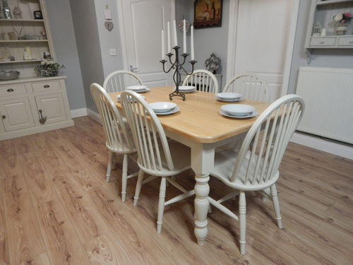 VINTAGE BEECH FARMHOUSE DINING / KITCHEN TABLE & 6 CHAIRS # # #SOLD # # #