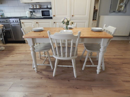 VINTAGE FARMHOUSE PINE KITCHEN DINING TABLE & 4 CHAIRS  # # #SOLD # # #