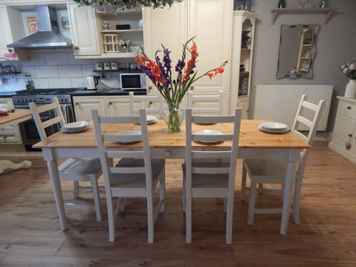 LARGE VINTAGE PINE FARMHOUSE DINING / KITCHEN TABLE & 6 CHAIRS # # SOLD # #