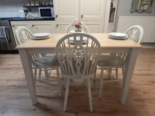 VINTAGE BEECH FARMHOUSE KITCHEN DINING TABLE & 4 OAK WHEELBACK CHAIRS  # # #SOLD # # #