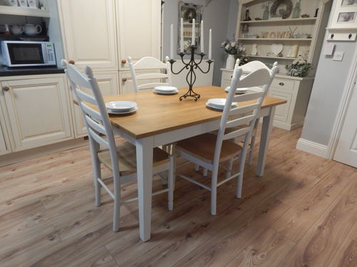 VINTAGE OAK FARMHOUSE KITCHEN DINING TABLE & 4 CHAIRS # # # SOLD # # #