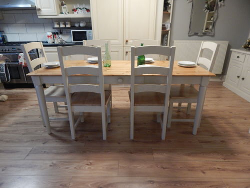 LARGE VINTAGE PINE FARMHOUSE DINING / KITCHEN TABLE & 6 OAK CHAIRS # # # SOLD # # #